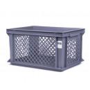 Bicycle crate plastic gray 40 x 30 x 22 cm