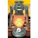 Hurricane lantern 25 cm aluminium flame effect