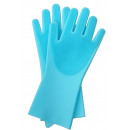 Cleaning gloves silicone with brush hair