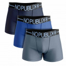 set of 3 men's boxer shorts, shades of blue