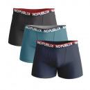 Set mit 3 Herren-Boxershorts, Marine / Blau / Groß