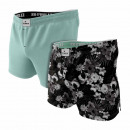 set of 2 men's underpants, black flowers / gre