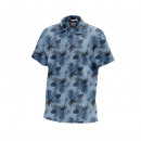 Polo Shirt homme, tropical bleu feuiillage