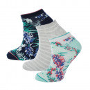 set of 3 short socks woman, jungle