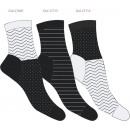juego de 3 calcetines de mujer, gráfico negro y bl