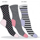 set of 3 socks woman, polka dots & stripes