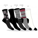 set of 5 socks woman, peas & stripes