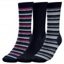 3er Set Socken Frau, shinny Streifen