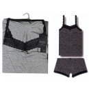 set woman, top lg + shty plain gray lace