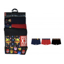 set of 3 boxer shorts child, plain navy / red