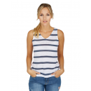 Donna Top Stripes a vela, bianco-blu marino