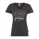 wholesale Fashion & Apparel: Ladies Print T-Shirt Catch the moment, anthracite
