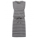 wholesale Dresses: Ladies dress, striped, anthracite / white