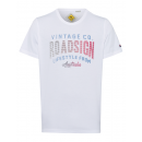 T-Shirt Roadsign Vintage , blanc, col rond