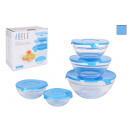 set of 5 bowls with blue lid Adele
