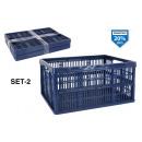 conjunto de 2 cajas plegables azul 32l