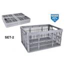 conjunto de 2 cajas plegables platino 32l