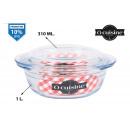 Großhandel Töpfe & Pfannen: runde Glasauflauf mit Deckel 1000ccm ocuisine