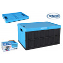 wholesale Decoration: folding box with lid 46l black / blue