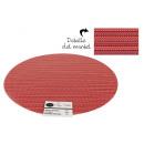 dessous de plat pvc rayures rondes rouges 38cm