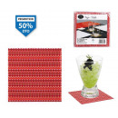 wholesale Drinking Glasses: set of 12 red pvc coasters stripes 9x