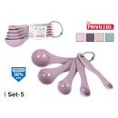 conjunto de 5 cucharas medidoras plástico privileg