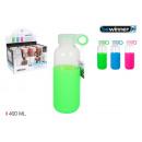 botella sport agua vidrio/silic 400 bewin