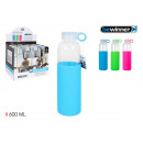 sport water bottle glass / silic 600 bewin