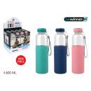 glazen waterfles / siliconen 600 t / sil bewin