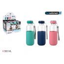 Großhandel Haushalt & Küche: Glaswasserflasche / Silikon 300 t / sil bewin
