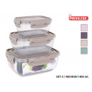 Großhandel Lunchboxen & Trinkflaschen: 3er-Set Lunchbox 4 Schlösser rechteckiges ...