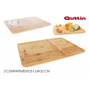 rectangular bamboo tray 3 compart 24x32 quttin