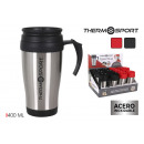 travel mug 400ml acerinox neg / red quttin