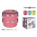 set di 2 lunch box termico ss 085lt quttin
