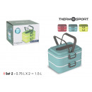 set di 2 lunch box termico puzzare 075lt quttin