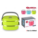 set of 2 oval thermal lunch box ss 0.9 quttin