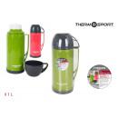 thermos en plastique avec tasse 1l.r / g thermospo