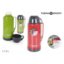plastic thermos with mug 180l r / g thermosport