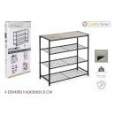 ingrosso Home & Living: scaffalatura 4 livelli metallo legno nero conforti