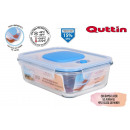 rectangular lunch box with empty lid 23x17.5cm qut