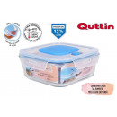square lunch box with empty lid 18.5x18.5cm qu