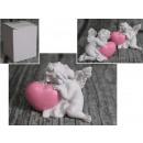 angelo di ceramica con cuore 6x4,5 cm