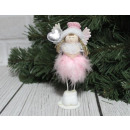wholesale Figures & Sculptures: Decorative pink angel standing with feathers 13 c
