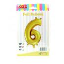 6. Palloncino foil da 32 pollici numero oro -6-