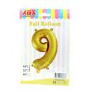 9. 32 hüvelykes fólia ballon arany szám -9-