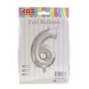6. Palloncino foil da 16 pollici argento numero -6