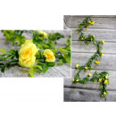 Borostyán rózsa virágokkal 1,8 m (20 virág) sárga