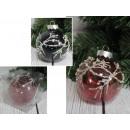 Palla di Natale 1 pezzo con perle da 8 cm
