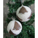 Fehér karácsonyi dísz karácsonyfa juta 8 cm - kész
