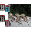wholesale Home & Living: Checked Christmas balls (4 colors) 5 cm - set of 6